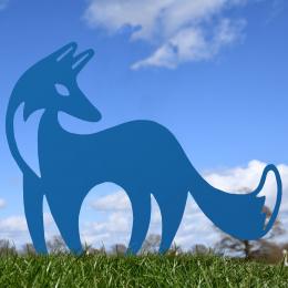 Contemporary Fox Garden Sheet Steel Silhouette In Blue