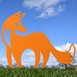 Contemporary Fox Garden Sheet Steel Silhouette In Orange