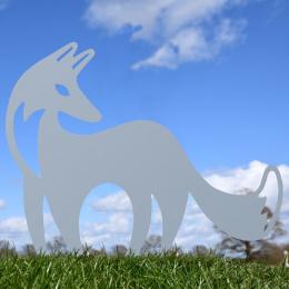 Contemporary Fox Garden Sheet Steel Silhouette In Silver