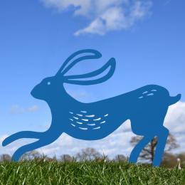 Contemporary Hare Garden Sheet Steel Silhouette In Blue