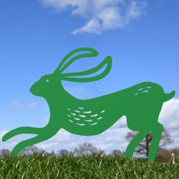 Contemporary Hare Garden Sheet Steel Silhouette In Green