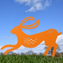 Contemporary Hare Garden Sheet Steel Silhouette In Orange