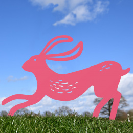 Contemporary Hare Garden Sheet Steel Silhouette In Pink