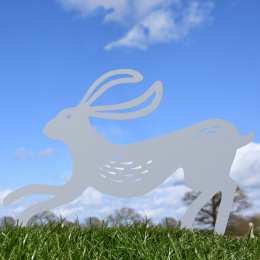Contemporary Hare Garden Sheet Steel Silhouette In Silver