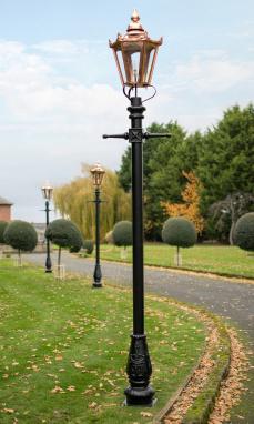 Copper Hexagonal Garden Lamp Post Lining Driveway