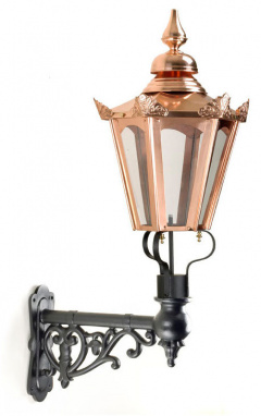 Copper Hexagon Wall Light On Ornate Bracket