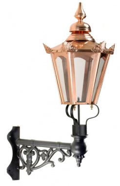 Copper Hexagon Wall Light On Ornate Corner Bracket