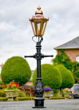 Copper Hexagonal Miniature Lamp Post in Situ