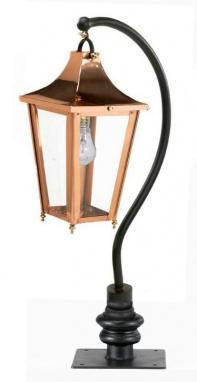 Copper swan neck driveway light