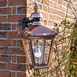 Copper Top Fix Wall Lantern With Corner Mount Bracket