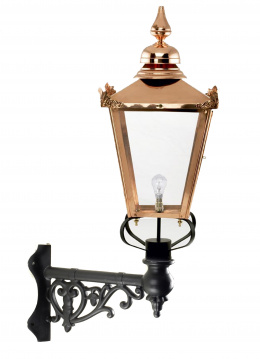 Copper Victorian Wall Light On Ornate Corner Bracket