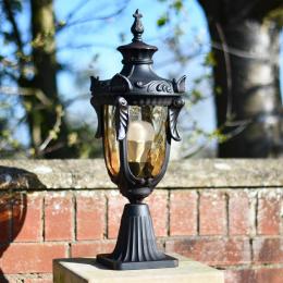 Dark bronze finish garden pillar outdoor lantern