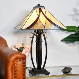 Dark Bronze Tiffany Desk Lamp with Glass Shade