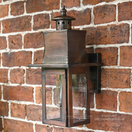 Distressed Copper Contemporary Flush Wall Lantern