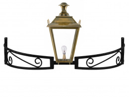Antique Brass Dorchester Lantern on Bow Bracket