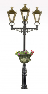 Triple Headed lamp post with flower basket