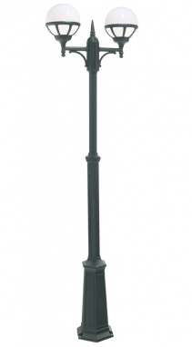 Contemporary Double Head Opal Globe Garden Lamp Post