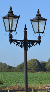 Dual Headed Victorian Lamp Post In Black