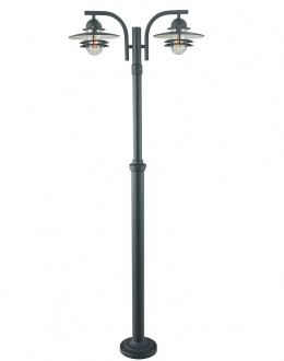 Dual Head Clear Glass Helsinki Lamp Post Black