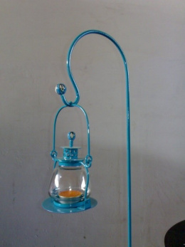 Electric Blue Garden Candle Lantern