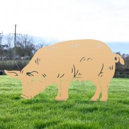 Female Pig Sheet Garden Steel Silhouette In Tan Finish