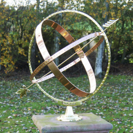 Fletched Arrow Brass and Copper Armillary Sphere