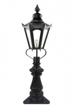 Fluted Driveway Lamp Post and Hexagonal Lantern Set
