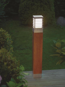 Scandinavian Wood and Steel Driveway Bollard Light