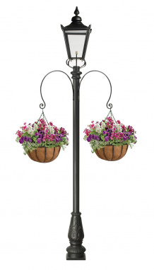 Garden Lamp Post with Hanging Baskets and Brackets