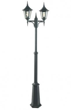 Gothic Double Head Garden Lamp Post with telescopic column