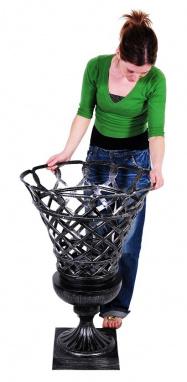 Grey lattice planter with girl