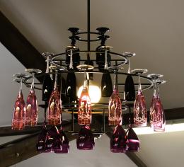 Hanging wine glass chandelier