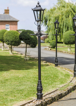 2.3m Tall Black Victorian Garden Lamp Post