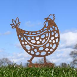 Clucking Hen Garden Sheet Steel Spike Sculpture In Rustic