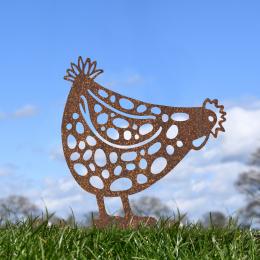 Pecking Hen Garden Sheet Steel Spike Sculpture In Rustic