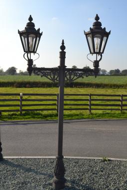 hexagonal double headed lamp post