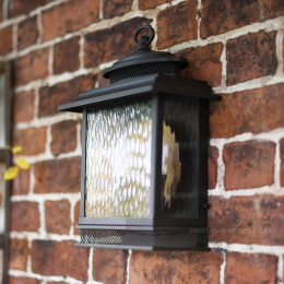 Large Bronze Finish Exterior Wall Lantern With Rain Glass