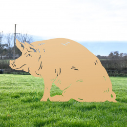 Large Sitting Pig Garden Sheet Steel Silhouette In Tan