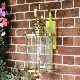Large Polished Brass Top Fix Cylindrical Wall Light