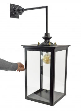 Large Black Contemporary Top Fix Wall Lantern