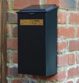 "Large ""Redhill"" Black Newspaper Box With Brass Plaque"