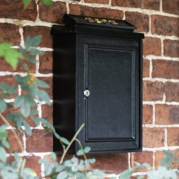 Simplistic Wall Mounted Post Box with Polished Brass Lettering