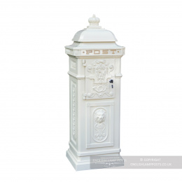 """The Lincoln"" Freestanding Pillar Box In White"