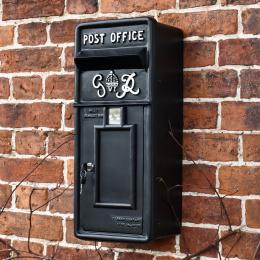 Slim King George Wall Mounted Post Box- Black