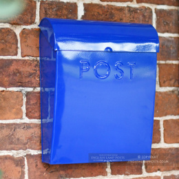 Sapphire Blue Contemporary Wall Mounted Post & Parcel Box