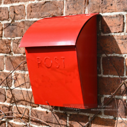 Red Lockable Wall Mounted Modern Post Box