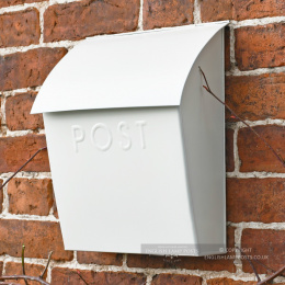 Cream Lockable Wall Mounted Modern Post Box