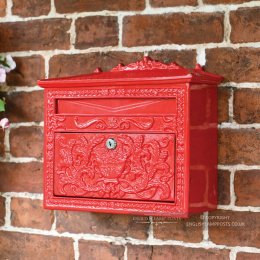 Red Ornate Victorian Wall Mounted Letter Box