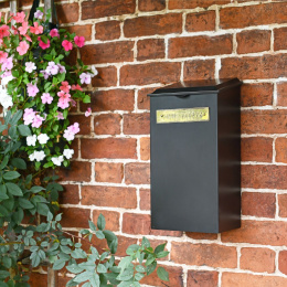 """Large """"Redhill"""" Black Newspaper Box With Brass Plaque"""