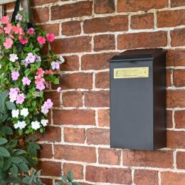 "Standard ""Redhill"" Black Newspaper Box With Brass Plaque"